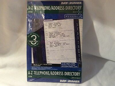 "Day Runner A-Z Telephone/Address Directory Tabs 3 Ring 5.5"" 8.5"" #93119 Regency"