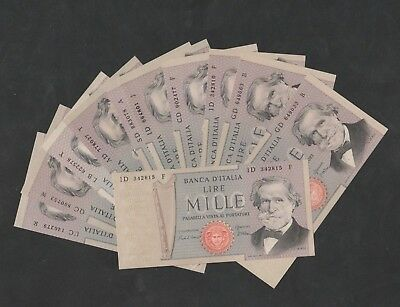 11 Pcs Of  1000 Lire From Italy Unc