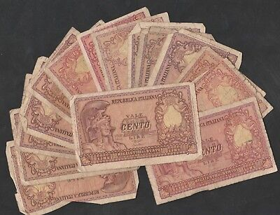 15 Pcs Of 100 Lire  From Italy