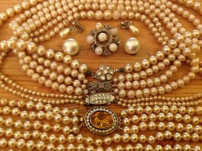 Vintage Art Deco Jewellery Collection Faux Pearl Necklace Earning Brooch Job Lot