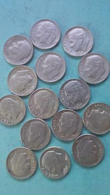 R124 Roosevelt 90% silver dime lot of 15 coins combine ship + $1 more per win