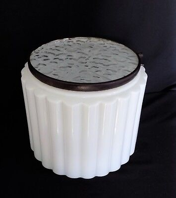 Art Deco Ribbed White Opal Clear Glass Light Fixture Shade