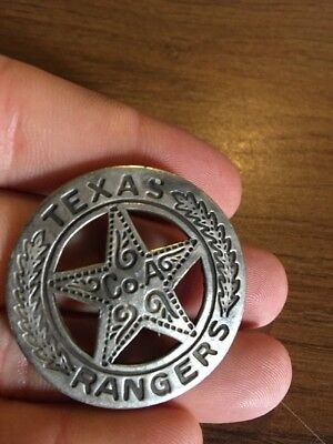 Texas Ranger Pinback Solid Metal Silver Antique Style Mexican Peso Coin Obverse!