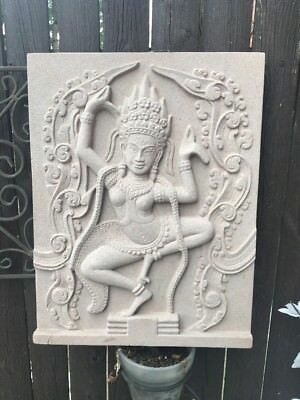 Cement Hindu India Goddess Many Arms Plaque Made Looks Good Tan Color