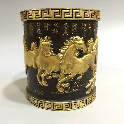 Collectible Rare Old gold & copper handwork Eight steed horse usable brush pot