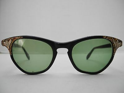 Vintage 1950's Ladies 55mm x 47mm Tiger Trim Sunglasses with Case