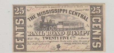 25 Cent Mississippi Rail Road 1862 Confederate Obsolete Uncirculated
