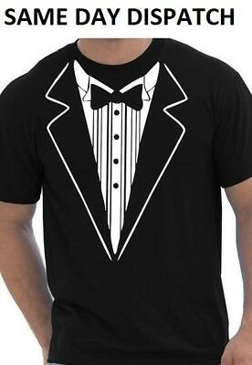 Bow Tie fancy dress T Shirt Wedding stag party gift Mens Novelty T Shirt Bowtie