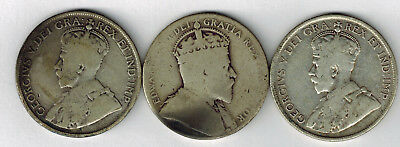 3 Sterling Silver Newfoundland 50 Cents