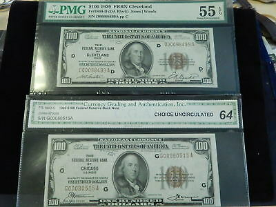 (2) 1929 $100. National Currency  - AU & CHOICE UNC 64 - CLEVELAND & CHICAGO NR