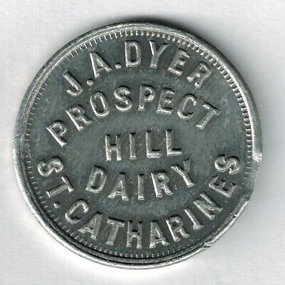 """St. Catharines Ontario - """"Good For One Quart Of Milk"""" Token - J. A. Dyer"""