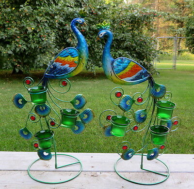 Metal Peacock Decor Candle Holders Colorful Display Peacocks New Multi-Colored