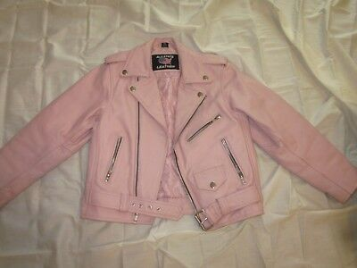 AllState Leather Pink Genuine Leather Jacket for Girls (fits youth 7-8)