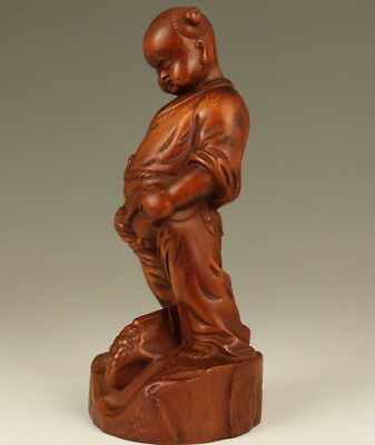 Rare Chinese Old Boxwood Hand Carved Favorite Figure Statue Home decoration