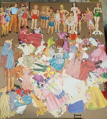 HUGE Vintage paper dolls lot, 100+ pieces