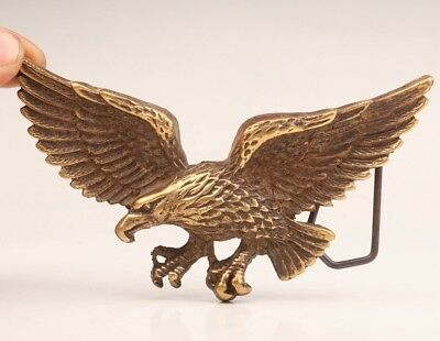Vintage Chinese Bronze Statue Belt Buckle Old Animal Eagle Collection