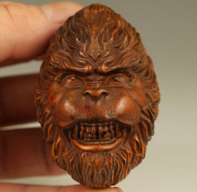 Rare Chinese Old Boxwood Hand Carved monkey king hand piece Statue Figure gift