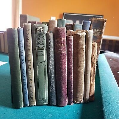 LOT OF 10 ANTIQUE 1850s - 1920s SCHOOL READERS & ARITHMETIC ENGLISH SCHOOL BOOKS
