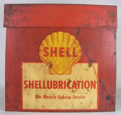 Vintage Shell Service Gas Station Lubrication Wall Mount Lift Top Cabinet Sign