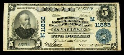 1902 Brotherhood of Loco. Eng. Co-Op Nat'l Bank $5 National Note - FR#607 - F+