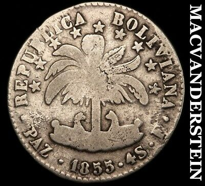 Bolivia: 1855-Pazf Four Sols- Scarce !! Better Date !!  #c2597