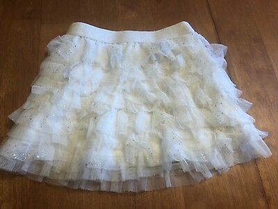 Childrens Place Size 2T Toddler Girls Ruffle Tier Tutu Skirt Silver Metallic