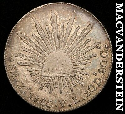 MEXICO (FIRST REPUBLIC): 1860-Zs;VL EIGHT REALES - ALMOST UNCIRCULATED!!  #C2584
