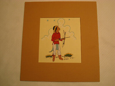 Beatien Yazz, Pueblo Boy With Bow, Matted, No Frame, Navajo Native