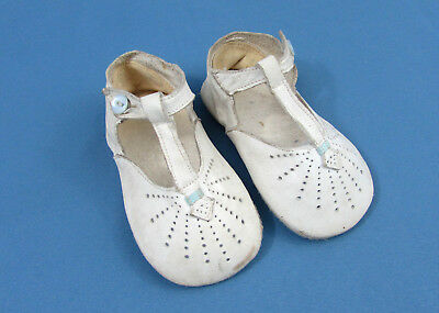 """Antique toddler kid leather button shoes - white w/ blue trim - 4.5"""" - 1920s-30s"""