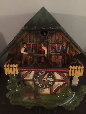 Vintage German Animated Saw Mill Cuckoo Clock Black Forest (West Germany)