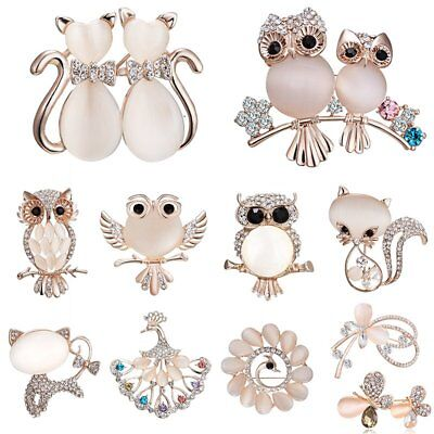 Fashion Owl Cat Butterfly Animal Crystal Brooch Pin Women Costume Wedding Gifts