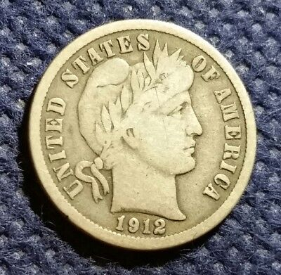 US Old 1912 D Silver Barber Dime 10 cents USA 106 years old