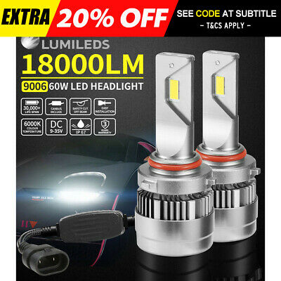 Pair 9006 HB4 LED Headlight Light Bulbs Replace Lamp White 60W 18000LM/Set 6000K