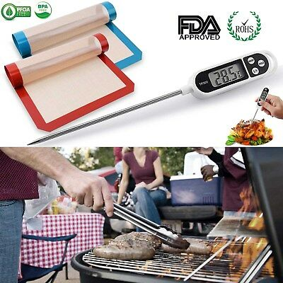 "2-IN-1 Digital Food Cooking Thermometer + No-stick Baking Mats (16.5"" x 11 5/8"")"