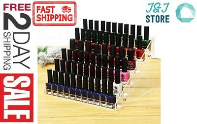 60 Bottles Acrylic Nail Polish Display Stand Makeup Organizer Holder Rack Clear