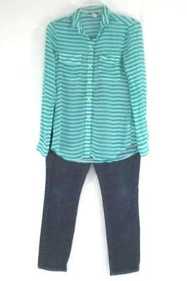 Lot Of 2 Old Navy Women's Sweetheart Blue Jean Reg. Sz 6 and Striped Shirt XS