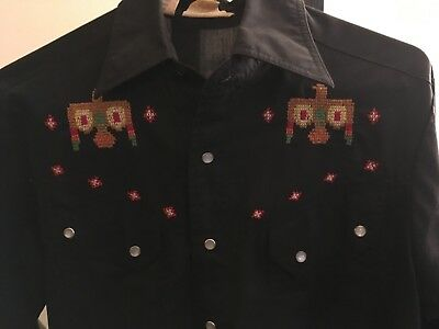 Embroiderd Cowboy Western Vintage Mens Dress Shirt Size Small by Kennigton, 70's