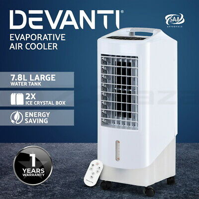 Devanti Portable Fan Evaporative Air Cooler Humidifier Water Conditioner 7.8L