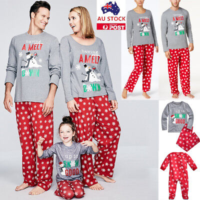 Christmas Family Matching Pyjamas Pajamas Pjs Xmas Santa Snowman Adult Kids Set