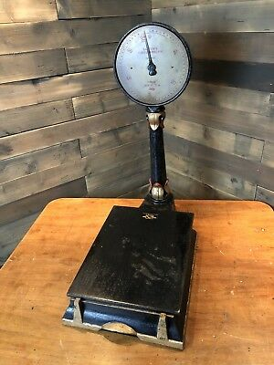 Lovely set of minature antique Salter platform type scales cast iron superb!