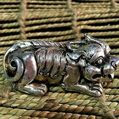 big Collectible Old Chinese Old Tibet Silver Handwork Auspicious Unicorn Statue