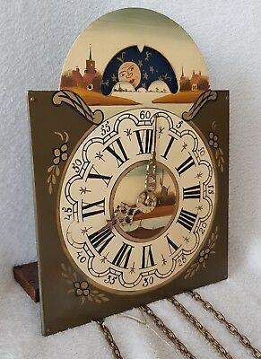 Hermle Wall Clock Movement 8 Day Painted Dial Chains Moonphase 1968