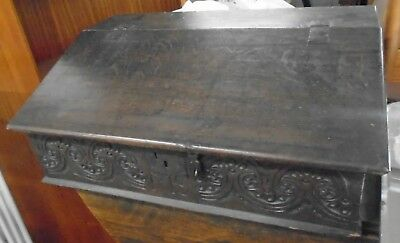 ANTIQUE 17th Century Solid Oak Dark Wood Carved Finish Bible Box - S96