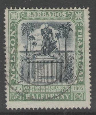 BARBADOS SG146 1906 ½d BLACK & PALE GREEN FINE USED