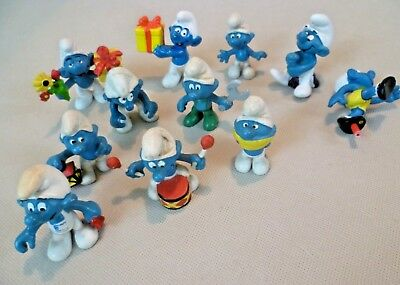 Vintage Smurfs - Clearance Lot of 11 West German Mostly Schleich Peyo Figures