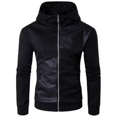 Mens Sport Hoodie Long Sleeve Hooded Zipper Black Tops Running Casual Coat Tops