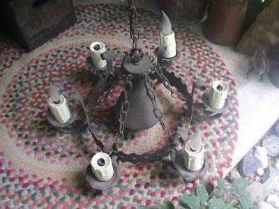 Vintage Gothic Spanish Revival Iron Chandelier Ceiling Fixture For Restoration