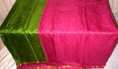 Green Magenta Pure Silk 4 yard Vintage Sari Lovely customer delight Bride #9A29E