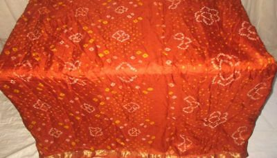 Rust Pure Silk 4 yard Vintage Sari Saree Multipurpose happy customers US #9A2AS