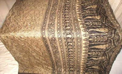 Cream Black Pure Silk 4 yard Vintage Sari Saree Italy global seller actor #9A2C8